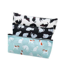 1pcs/lot cute lovely cat PU pencil case mutifunction storage tickets bag for school and office supply stationery 1 pc lovely annoy shiba dog pu large pencil case stationery storage organizer bag school office supply escolar