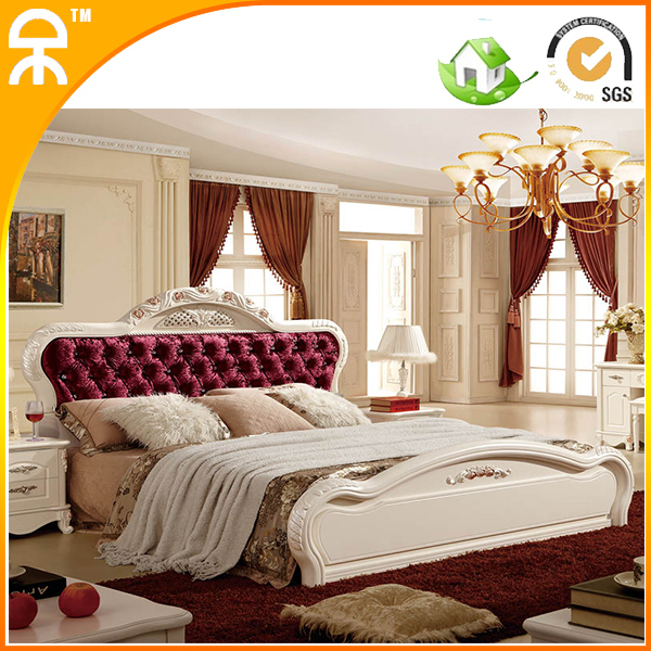 2 Pcs Lot Latest Designs Fashion Best Royal Solid Wood Bedroom Furniture Set With Knobs