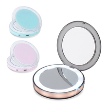 купить Portable LED Light Makeup Mirror USB Charging Make Up Pocket Mirrors Adjustable Brightness 3X Magnifying Glasses Hand Mirror дешево