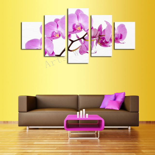 Unframed 5 Panels Nature Red Flowers Canvas Print Painting Modern ...