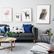Posters Animals Wall Art Printed Canvas Painting For Living Room Nordic Decoration Flamingo Owl Elk alphabet Decor Picture
