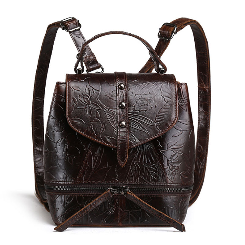 Womens Oil Wax Genuine Leather Cowhide Embossed Handbag Vintage Tote Handbag Student package travel Back pack