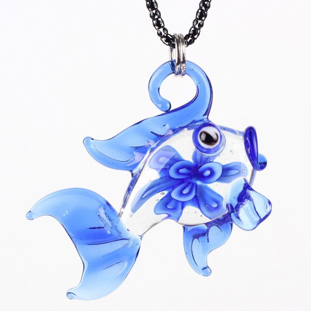 Bonsny Fish Color Glaze Glass Murano Necklace Glass Long Pens