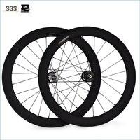 Piñón fijo 60mm fibra de carbono cubiertas de bicicleta pista bicicleta conjunto de ruedas de carbono