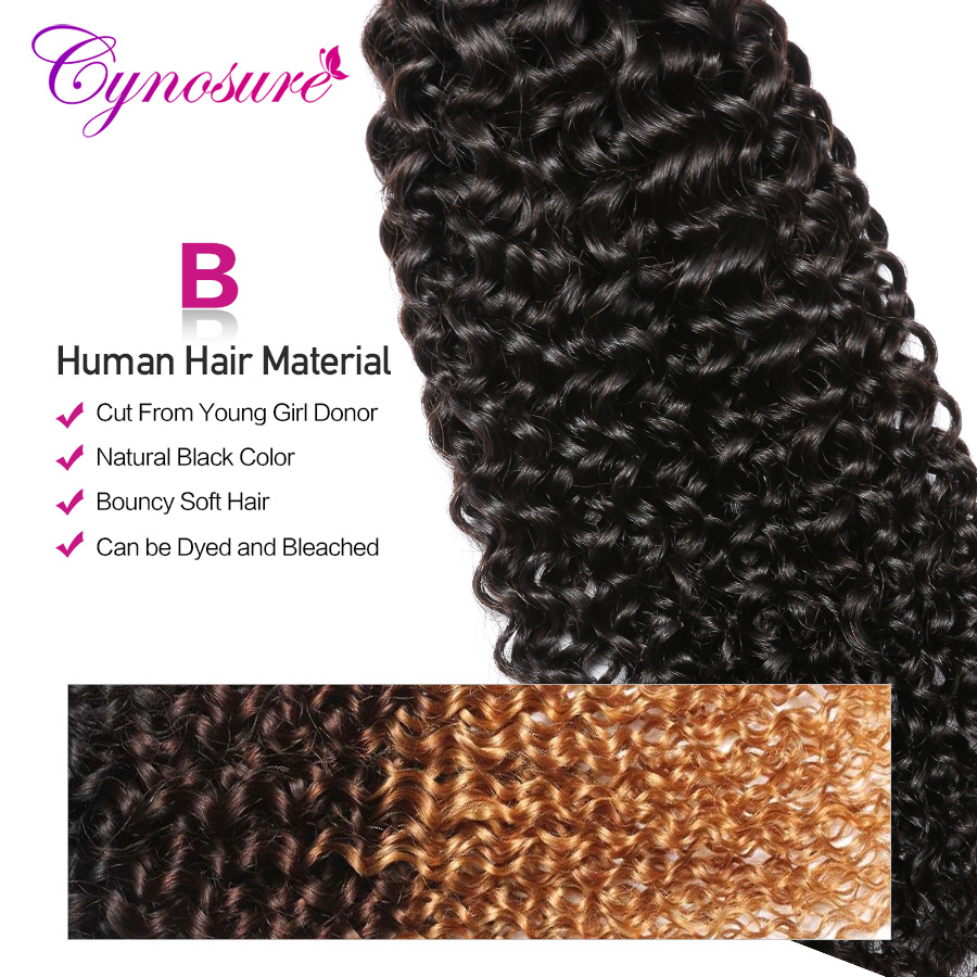 Cynosure Afro Kinky Curly Weave Human Hair Bundles With Lace Closure Non Remy Brazilian Hair Weave 3 Bundles With Closure  by Cynosure