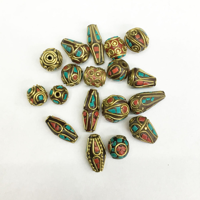 fb06a7ca6 50pcs Handmade Tibetan Style Nepal Filigree Beads Brass with Coral and  Turquoise Brass Spacer Beads Nepal Beads, stijl kralen