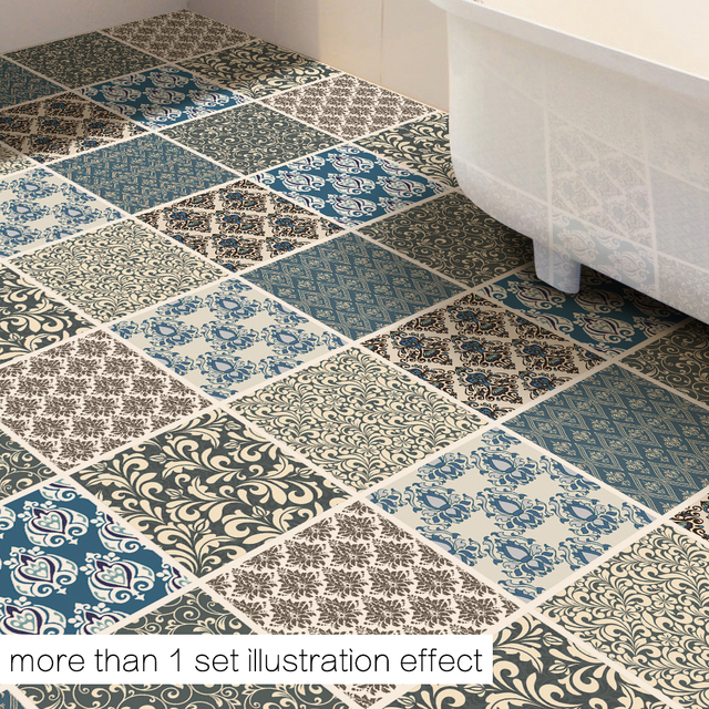 Funlife DIY Damascus Decor Floor Stickers Geometry Wall Sticker Removable  Floor Sticker Art Decal Home Room