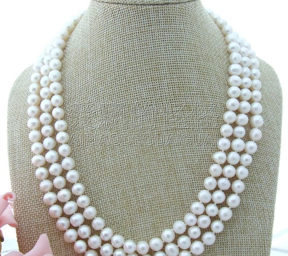 N072512 19 8-9MM 3 Strands White Pearl Necklace CZ ClaspN072512 19 8-9MM 3 Strands White Pearl Necklace CZ Clasp