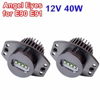 hippcron 1 Set 2*20W 40W LED Marker Angel Eyes Bridgelux LED Chips XENON White 7000K for BMW E90 E91
