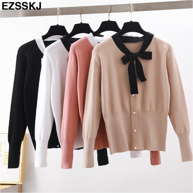 2018 Bogen Pullover Herbst Winter Pullover Pullover Frauen Langarm V-neck Lose Süße Pullover Weibliche Dame Stricken Jumper Pullover