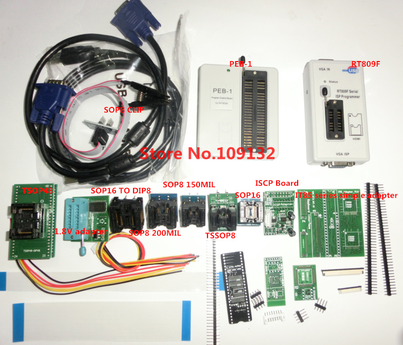 free shipping RT809F with 12adapters PEB 1 PEB 1 Expansion board