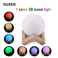 3D Print Decorative Moon Light 7 Color Change Touch Control Brightness With USB Charging Night Light