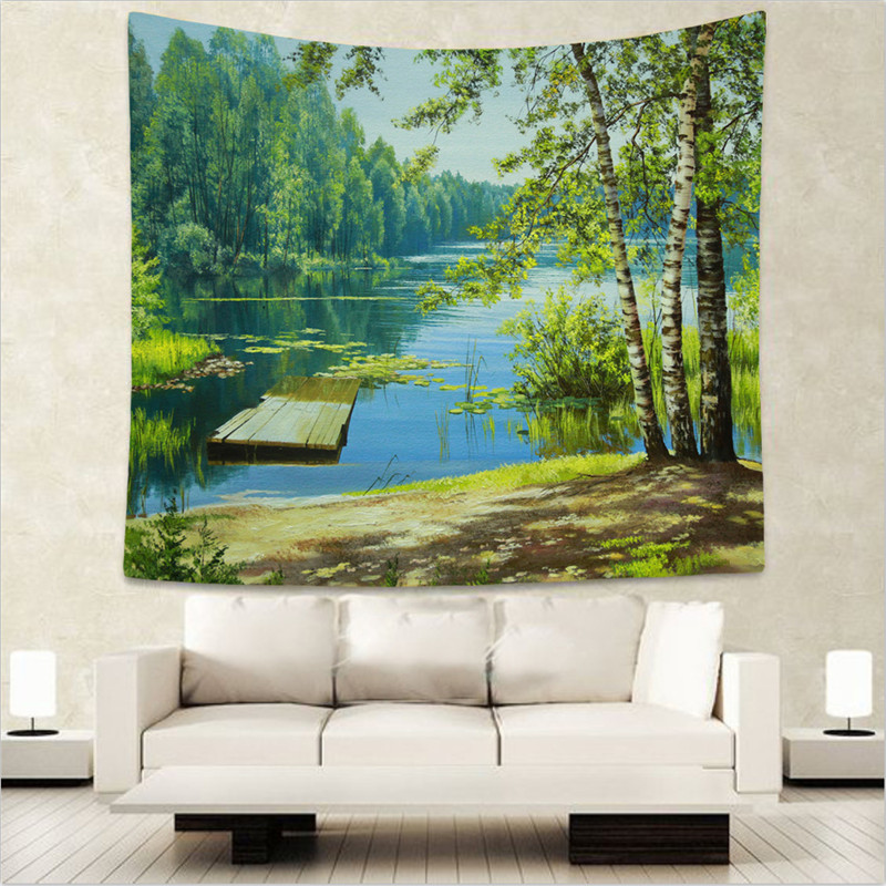 Hanging Home Decor: Polyester Forest Tree Tapestry 150X130cm Wall Hanging