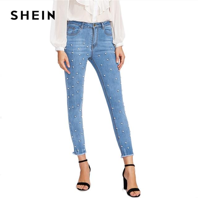 SHEIN Pearl Beaded Frayed Jeans 2018 Summer Blue Mid Waist Pocket Zipper Fly Jeans Women Hem Denim Casual Pants 5
