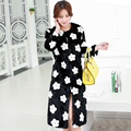 New 2015 winter women long section faux fur coat Fashion slim warm black rabbit fur jacket White flowers pattern casual fur coat