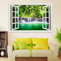 2019 Wall Decals Waterfall 3D Window View Wallpaper Nature Landscape room decor Landscape Wall Sticker vinilos decorativos ation