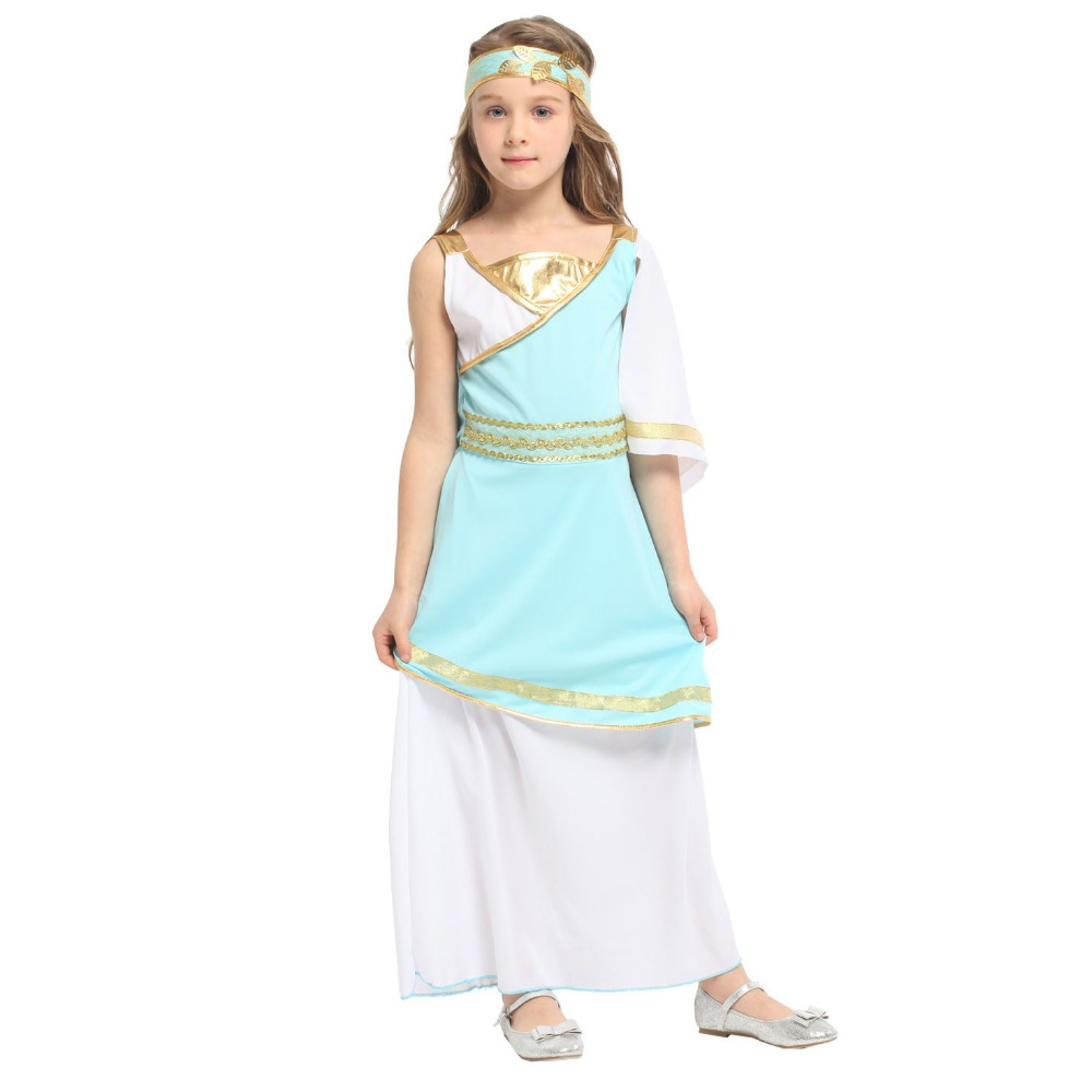 Children Kids Roman Greek Princess Goddess Venus Athena Costumes Halloween Purim Carnival Party Masquerade Role Play