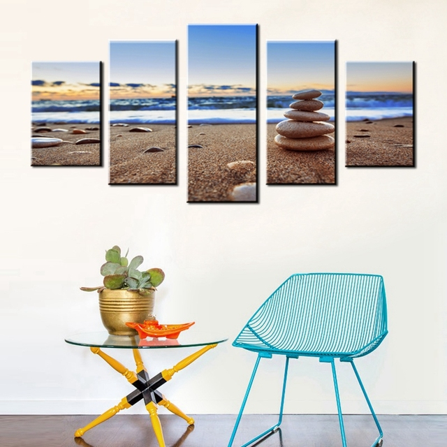 Stone Wall Art Canvas Prints Seascape Canvas Painting for Living ...
