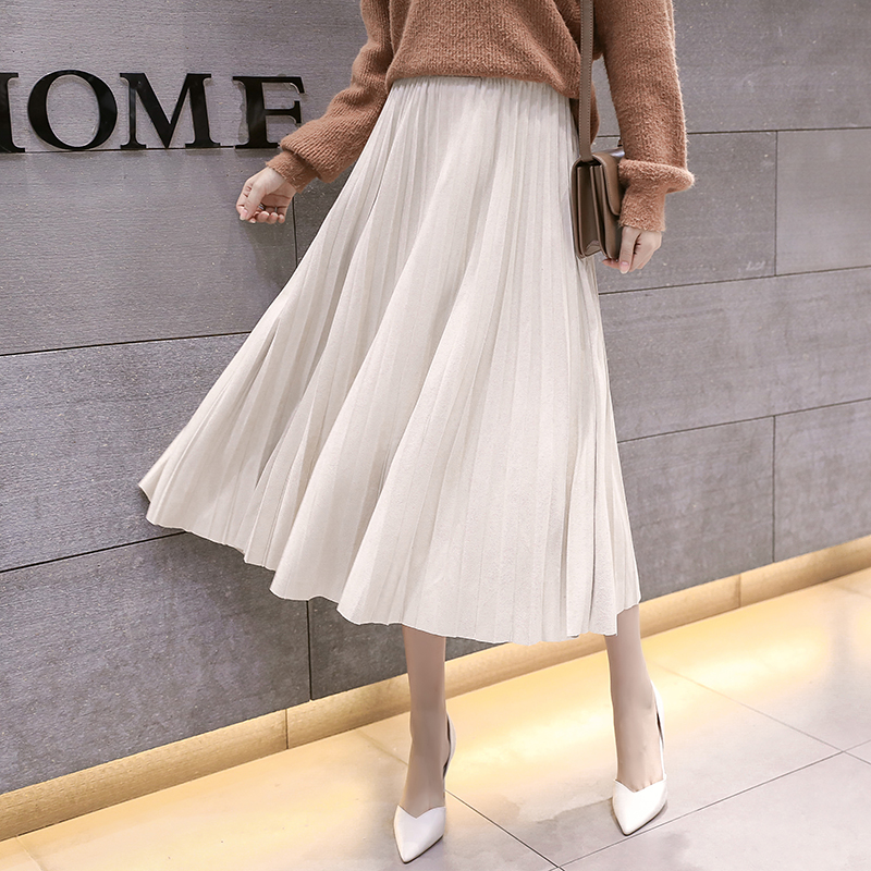Women Pleated Skirt Women High Waist Midi Skirts Womens Elegant Woman Midi Skirt Plus Size Women Velvet Skirts Faldas Mujer Moda