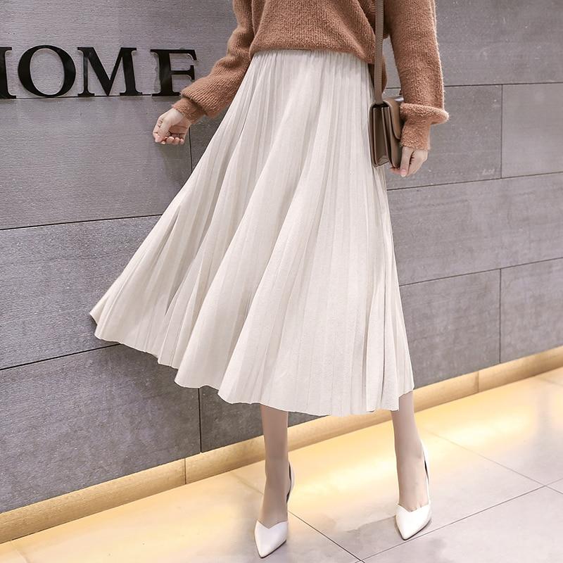 Women Pleated Skirt Women High Waist Midi Skirts Womens Elegant Woman Midi Skirt Plus Size Women Velvet Skirts Faldas Mujer Moda