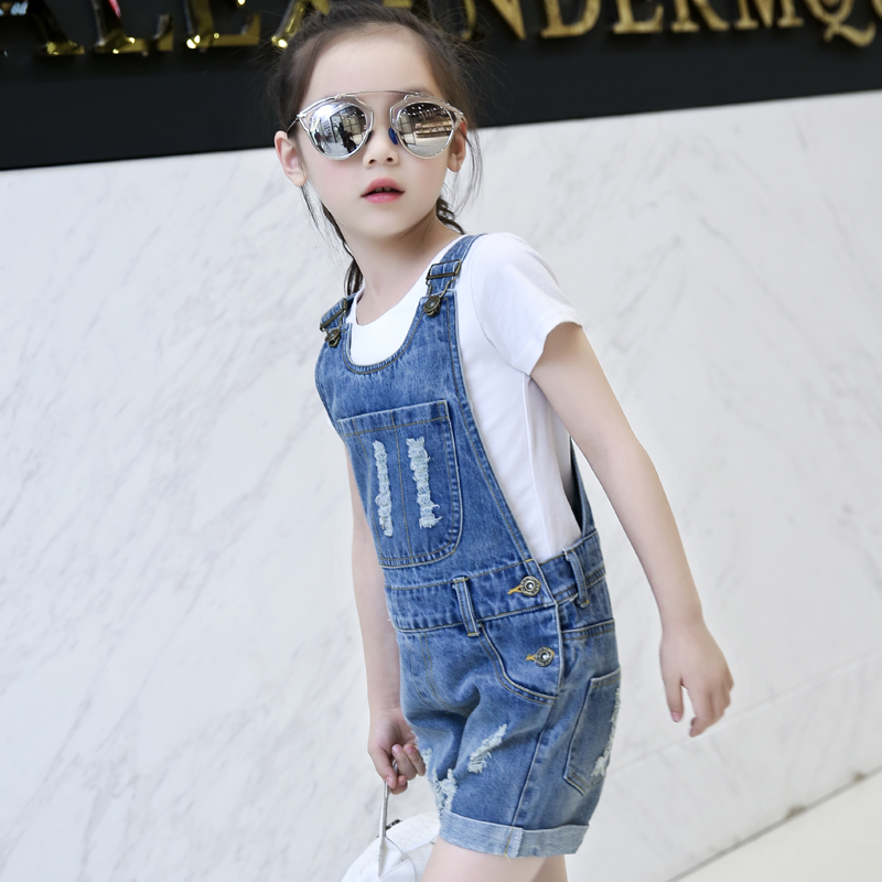 Children denim rompers girls cotton summer style shorts mother and daughter clothes kids hole clothing family matching outfits