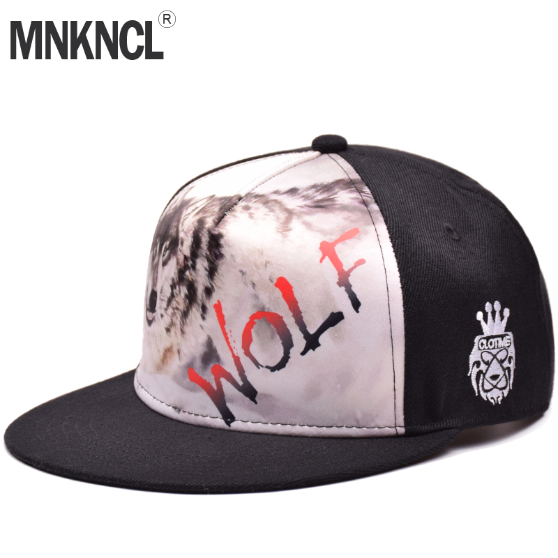 MNKNCL Original Cool Hip Hop Cap Men Women Hats Vintage Wolf Printing Baseball Caps Gorras Planas Bone Snapback Caps [hatlander]original grey cool hip hop cap men women hats vintage embroidery character baseball caps gorras planas bone snapback