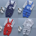 2pcs/set Baby Boy Girls Kids Child Cartoon Mouse Pattern Long Sleeve Stripe Tops + Plaid Bib Pant Outfit Suit New Arrival 21