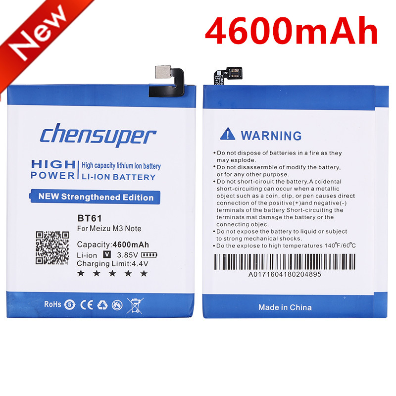 2pcs/3.85V 4600mAh BT61 Lithium-ion Li-ion Smart Mobile Phone Battery Replacement For Meizu M3 Note(Note 3)/M681H/M681Q/M681(China)