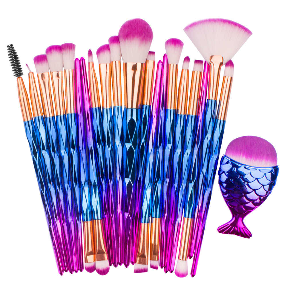 Saliyoo 21 Pcs Mermaid Fishtail Makeup Brushes Set Foundation Berlian Kontur Blending Blush Wajah Eyeshadow Kit Kosmetik
