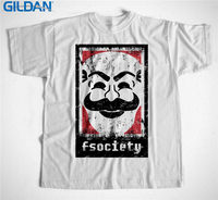 100 Cotton T Shirt Gildan Men S Crew Neck Novelty Short Sleeve Fsociety Mr Robot Tees