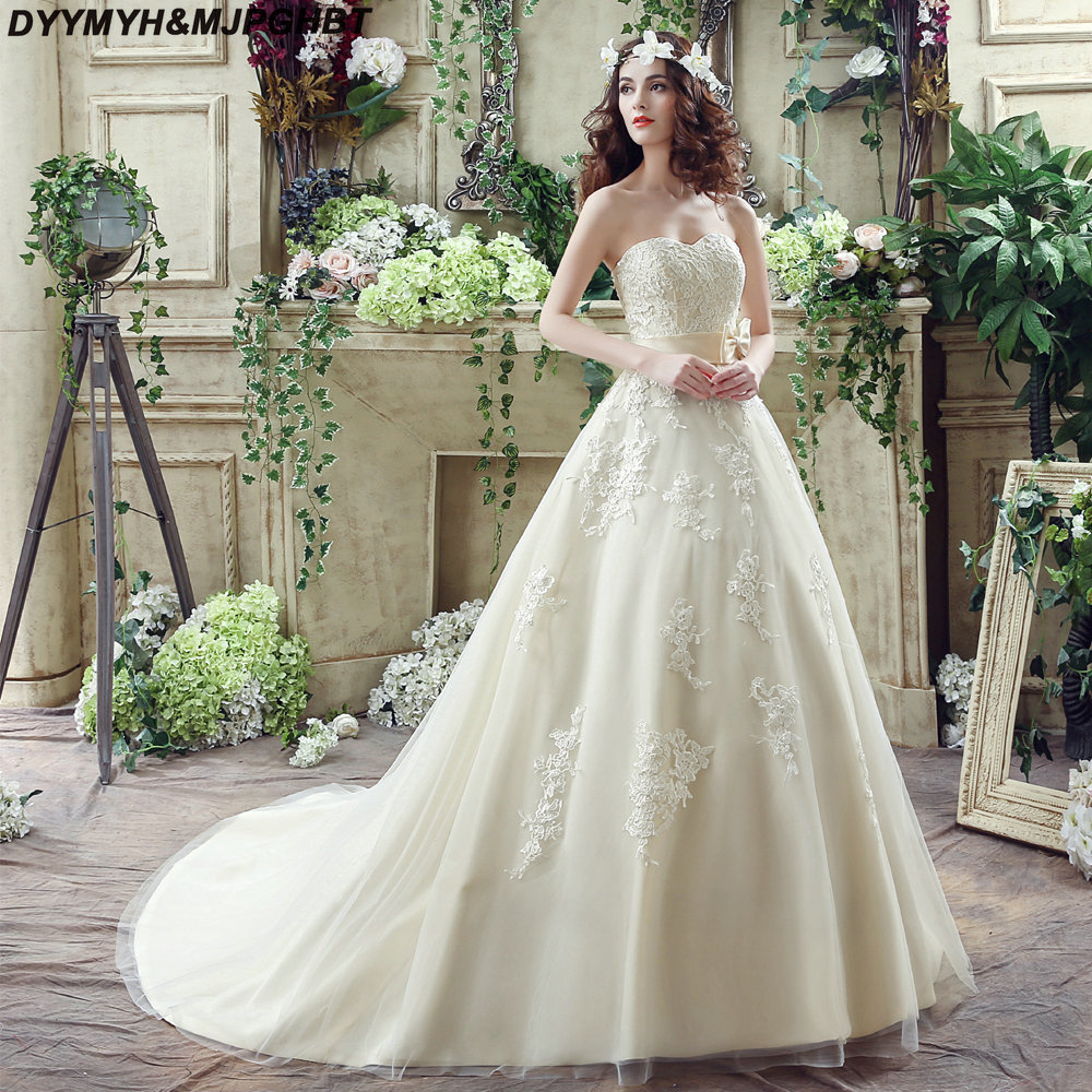 Light Champagne Ball Gown Church Wedding Dresses Lace Top Court Train  Charming Bridal Gowns