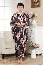 Black Chinese Traditional  Gown Womens Satin Kimono Robe
