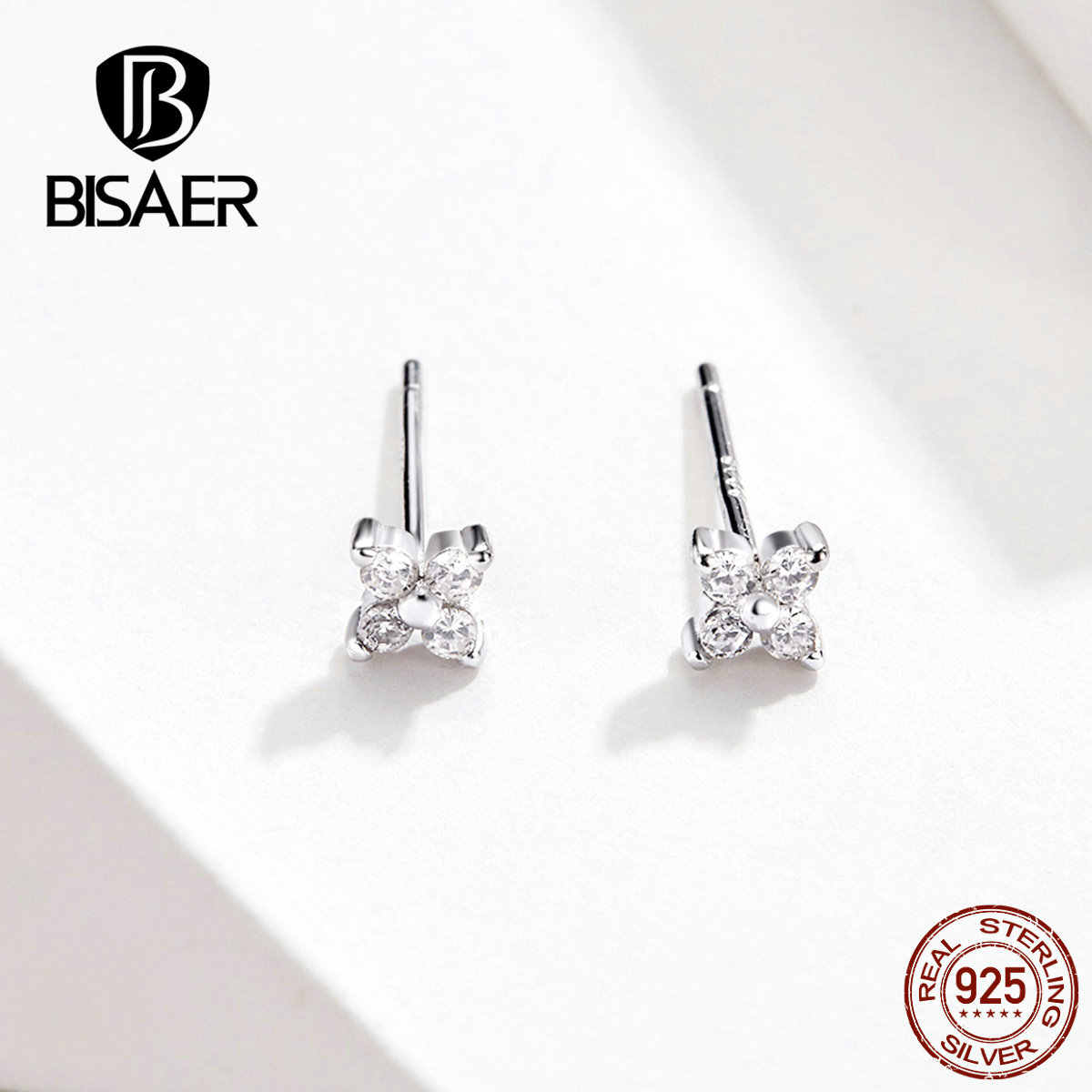 BISAER 925 Sterling Silver Shining Cubic Zircon And Square Exquisite Stud Earrings for Women Wedding Engagement Jewelry ECE648