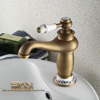 Antique Brass tắm vòi Chậu Tàu Basin Chậu vòi nước Mixer Tap Vòi nước Ceramic Độc Xử lý đèn phong cách