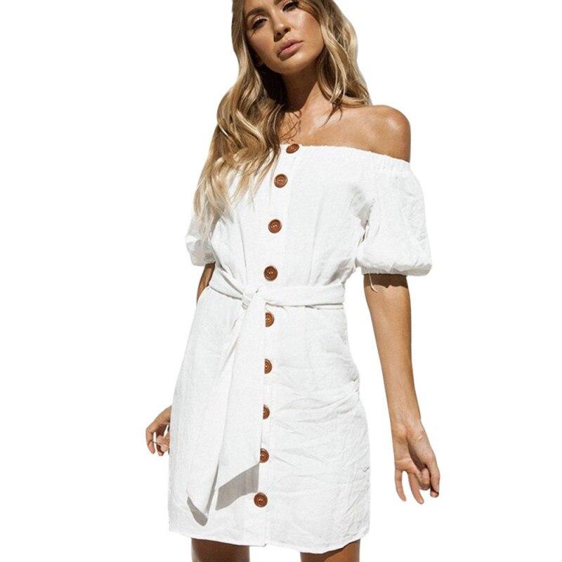 3cc1f3a8 Women Mini Pencil Dress Summer Off The Shoulder Puff Sleeve Button Down Tie  Waist Casual Slash neck Dress