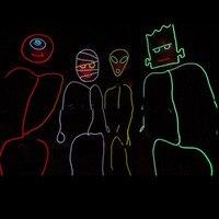 Stick Figure Costume EL Wire Kit TRON Burning Halloween Neon Glow Man EL Stage Wear Free