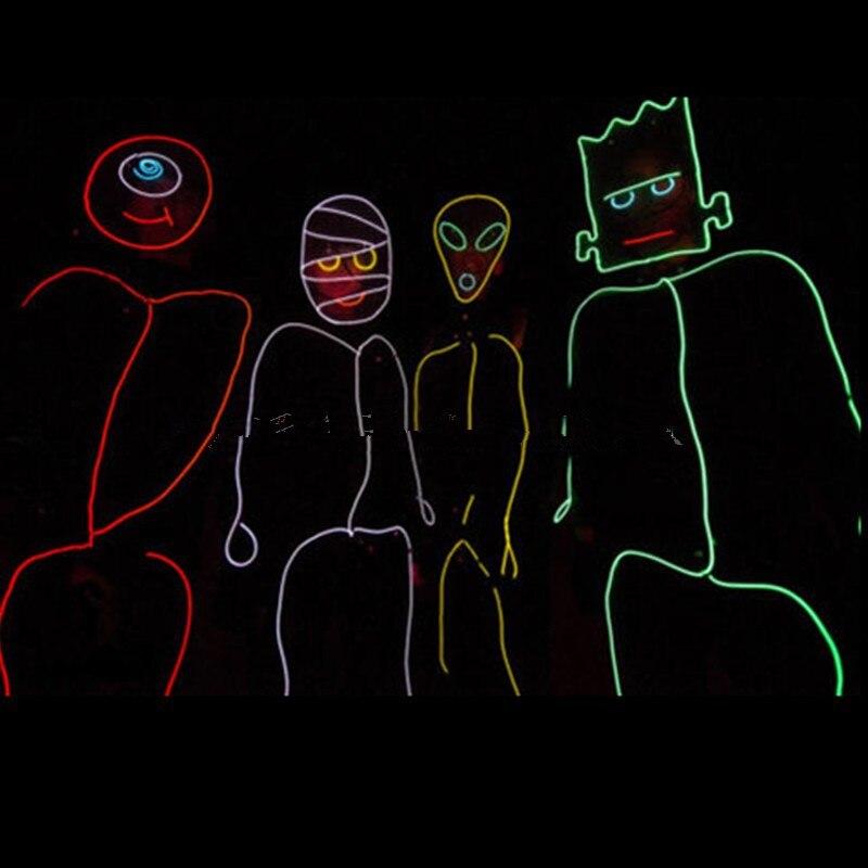 Светодиодный светящийся EL Wire комплект трона сжигание Хэллоуин неоновый светящийся робот костюм Человек EL сценическая одежда Бесплатная доставка DHL