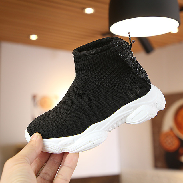 Girls Slip On Knitted High Top Sneakers Baby Toddler Butterfly Sock Shoes MT071