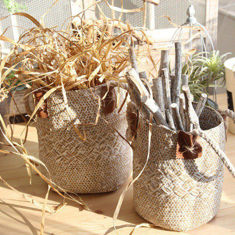 Foldable Seagrass Laundry Basket Storage Baskets 3