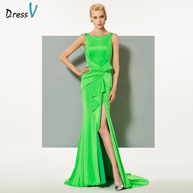 4d1d23065f5c3c Dressv groene elegante avondjurk mouwloze hof trein mermaid split-front  wedding party formele jurk trompet