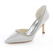 ชี้ผู้หญิงเท้าด้านส้นสูงเปิดปั๊มส้นแต่งงานเจ้าสาวชุดเพื่อนเจ้าสาวพรรคคริสตัลShoes18353-15A ZHL