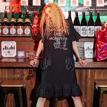 ELF שק נשים Oversize קיץ שמלות כיסי תחרה ארוך שמלות נקבה O צוואר Mixi בתוספת גודל שמלות נקבה הדפסת בגדים