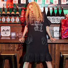 ELF SACK Women Oversize Summer Dresses Pockets Lace Long Dresses Female O Neck Mixi Plus Size Dresses Female Printing Clothing