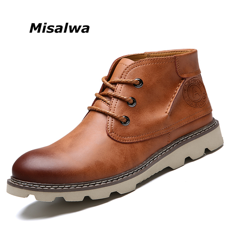 Misalwa Automne Hiver Hommes Bottes Taille 38-44 Vintage Style Hommes Chaussures Casual Mode Haute-Cut Dentelle- warm up Hombre