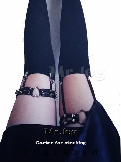 Rock Pub Girl Garter Belt Rivets Harajuku Women Punk Leg Ring Thigh Harness Heart Garter Adjustable Size for women sexy toy