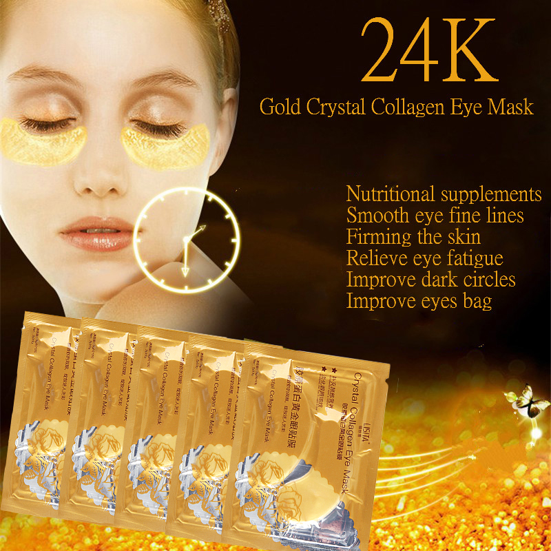 100PCS=50pairs  Crystal Collagen Gold Powder Eye Mask  Black Eye CirclesAnti Aging Eyelid Patch Moisture Crystal Eyes Care HOT