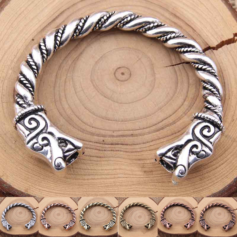 Yage 6 Style 1Pcs / lot Nordic viking style Thread Double Viking Fenrir Wolf bangle fit lelaki hadiah