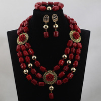 Unique Wine Red Nigerian Coral Beads Bridesmaid Necklace Set Pendant Indian Dubai African Jewelry Set Free QW420