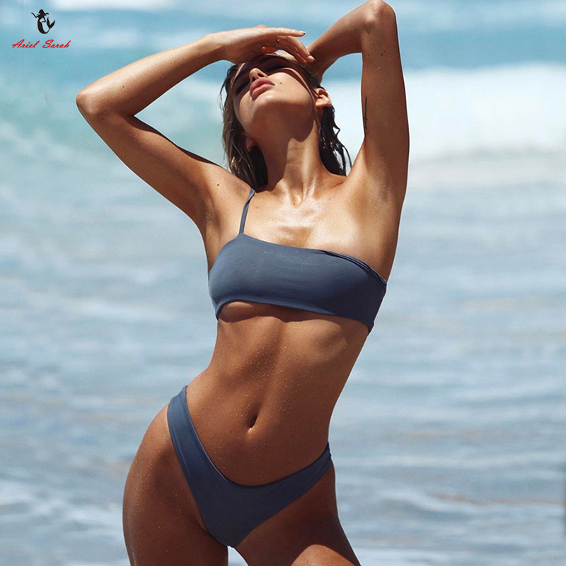 Ariel Sarah Bikinis Women Solid Sexy Swimsuit Swimwear Thong Bikini Set One Shoulder Bathing Suit Separate Top and Bottom Bikini summer style sexy bathing suit women 2016 new swimwear swimsuit sexy bikini swimwear shoulder strap bikinis set