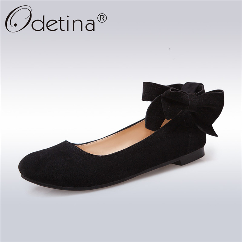 8f283d45cc67 Odetina 2018 New Fashion Women Mary Janes Flats Bowknot Ankle Button  Footware Ladies Soft Insole Casual Flat Shoes Big Size 43-in Women s Flats  from Shoes ...